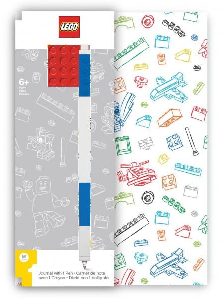 LEGO® Notizbuch Rot mit einem Gel-Pen blau
